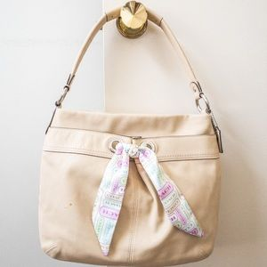 Coach Beige Leather Hobo Handbag